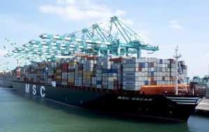 Large ship transporting cargo containers